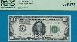 $100.1928 Cleveland Dark Green Seal Federal Reserve Note Pcgs Choice New 63ppq