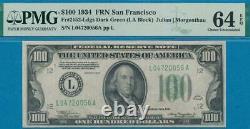 $100. 1934 San Francisco Frn Dark Green Seal Certified Pmg Choice New 64epq