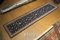 11 ft. Fine Quality handmade hall-runner Dark Blue Navy Salmon Floral Rug #pm75