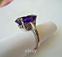 14 k White Gold Ring sz 6 1/2 with 10.25 c. Dark Gem Quality Amethyst