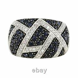 2.50 Ct Genuine Fine Quality Diamond & Dark Blue Sapphire Ring