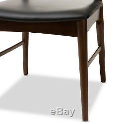2x Elbow Style Dining Chairs Danish Mid-Century Mod Dark Walnut Solid Wood Frame