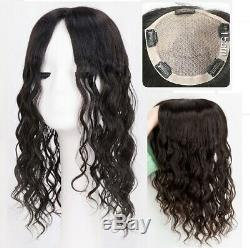 5.5x6 SILK TOP 100% high quality WAVY natural human hair topper hairpiece unit