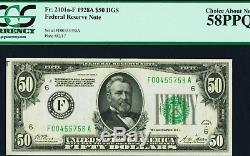 ATLANTA Fr. 2101-F $50 1928A Dark Green Seal Federl PCGS Choice About New 58PPQ
