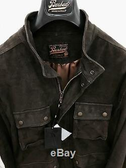 BARBED EXTRA QUALITY LAMB LEATHER SUEDE JACKET DARK BROWN Size M Orig. P $995