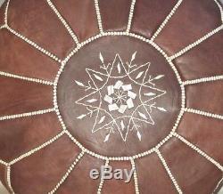 Big Promo Moroccan Pouf unstuffed High Leather Quality Dark Tan Ottoman pouffe