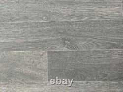 Black / Charcoal Wood 3 Plank Vinyl Flooring Quality Lino (Roll 143) 5.2m x 4m