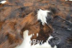COWHIDE RUG Dark Brindle Tricolor, High Quality, Hair on Hide, Jumbo (XL), PC610