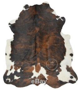 COWHIDE RUG Dark Brindle Tricolor, High Quality, Hair on Hide, Large (L), PC616