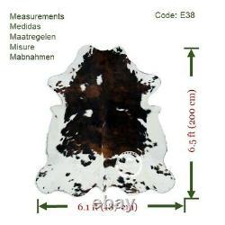 Cowhide Rug Dark Brindle Tricolor High Quality Hair on Hide Size Medium(M)E38