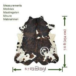 Cowhide Rug Dark Brindle Tricolor High Quality Hair on Hide SizeJumbo(XL)A160