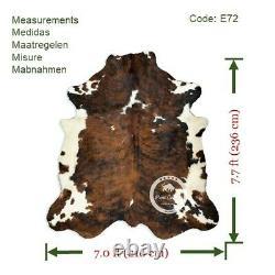Cowhide Rug Dark Brindle Tricolor High Quality Hair on Hide SizeJumbo (XL)E72
