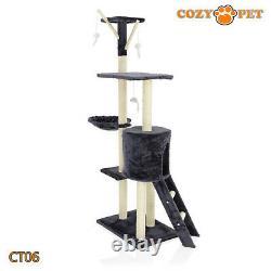 Cozy Pet Deluxe Cat Tree Sisal Scratching Post Quality Cat Trees CT06-Dark Grey