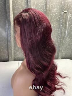 Custom High Quality 24'' Dark Red Loose Wave Virgin Human Hair Front Lace Wig