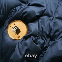 Dark Blue 100% Silk Duvet Cover Flat Sheet Pillowcase Deep Sleep Bedding Set