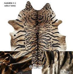 Dark Tiger Brown Black Cowhide Skin Leather Area Floor Rug Premium Quality