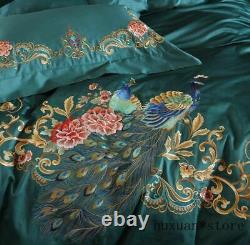 Embroidery Peacock Floral Duvet Cover Premium Egyptian Cotton Dark Bedding Set