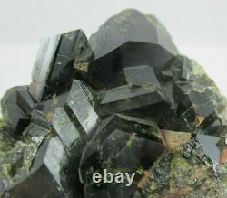 Excellent Museum Quality Dark Green Epidote Crystal Cluster Peru Large Crystals