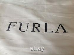 FURLA DARK TAN/ BROWN QUALITY LEATHER HANDBAG with detachable shoulder strap