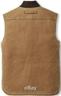 Filson Heavyweight Waxed Work Vest Dark Tan Second Quality Men's L NWT MSRP $225