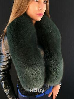 Fox Fur Collar 50' Saga Furs Stole Dark Green Fur Big Scarf Highest Quality Fur