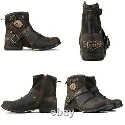 Genuine Leather Men'S Ankle Boots High Quality Work Cowboy Chukka Zipper-up -NEW