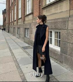 Giuliva Heritage x H&M Premium Quality Sleeveless Wool-blend Coat, XS, Dark Blue