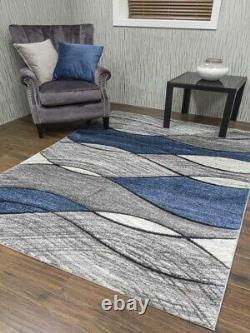 Good Quality New Dark Blue Lt Silver Grey Waves Floor Mat Rugs Hall Runner Cheap