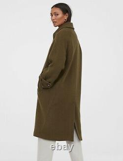 H&M Premium Quality Wool-Blend Coat in Dark Khaki Green Size Small S