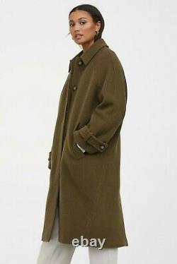 H&M Premium Quality Wool-Blend Overcoat in Dark Khaki Green Size L