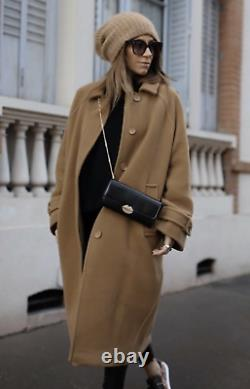 H&m Premium Quality Manteco Wool Blend Dark Camel Over Coat Sold Out Xs $199 Nwt