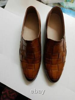 Handmade Men Dark Burgundy Leather Strap Loafer Moccasins Shoes Men TOP QUALITY