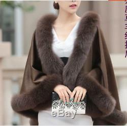 High Quality 100% Real Cashmere Fox Fur Trim Cloak poncho/Cape/Coat/5Colors