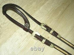 High Quality Dark Oil LACED RAWHIDE Western One Ear Silver Show Headstall Bridle