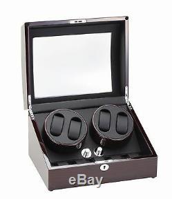 High Quality Diplomat Quad 4 Watch Winder Box withStorage Dark Cherry Finish
