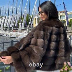High Quality Winter Dark Sable Natural Fox Fur Coat Women Fashion Warm Outerwear