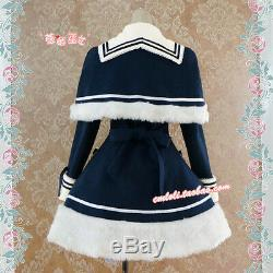 High quality Lolita Navy Dark Blue plush Thick Dress Coat with Shawl Free ship