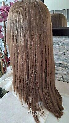 Highest Quality silky 100% Human Hair wig sheitel Dark Blonde M Cap 22 New