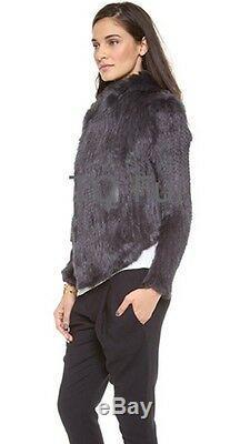 Irregular Collar Real Knit Rabbit Fur Coat Jacket Garment Overcoat Top Quality