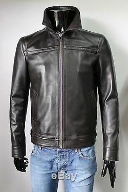 Italian Handmade Men Soft High Quality Leather Jacket Slim Fit Dark Brown M