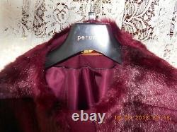 Ladies Quality Per Una Faux Fur Size 18 Dark Red Coat (cost £149)