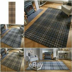 Loch Kilbirnie Tartan Soft Quality Natural Silver Grey Blue Rug & Runner Carpet