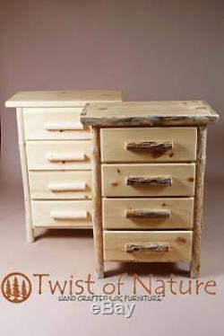 Log 4 drawer dresser Hand built Top Quality! Rustic Log Furniture cabin