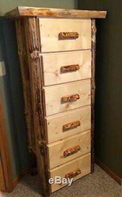 Log 6 drawer dresser Hand built Top Quality! Rustic Log Furniture cabin
