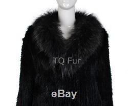 Long Real Knit Rabbit Fur Coat With Raccoon Fur Collar Jacket Warm Top Quality