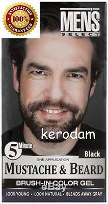 Men's select Mustache & Beard Dye Hair Color Dark Brown or Black 5 minute gel