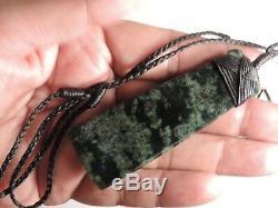 NZ Shane McIntosh Greenstone Jade Pounamu BOWENITE Maori Quality DARK SPOTS TOKI