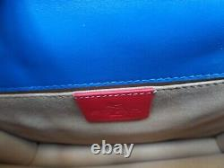 New ETRO quality dark blue leather shoulder bag with embroidered handle, ITALY