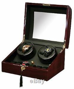New High Quality Diplomat Dark Cherry Quad 4 Watch Winder Box + 6 Storage Case