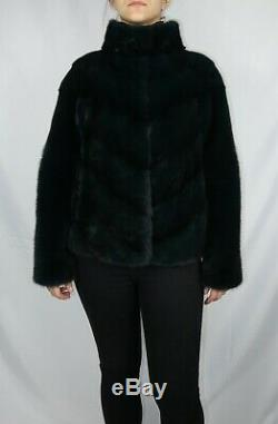 New Saga furs Dark Green mink fur jacket top quality v style all sizes available